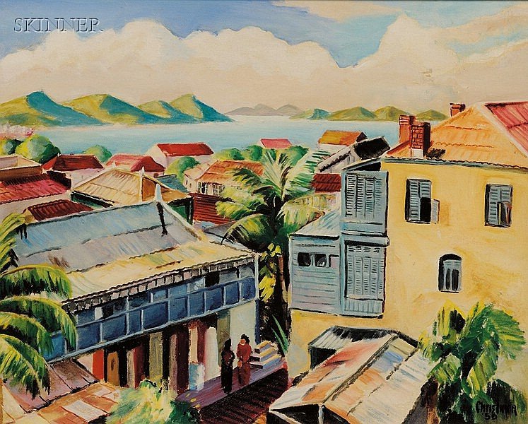 Christina Bauer (American, 1909-1996), Rooftops/A Nomean, New Caledonia, Landscape, Signed and dated