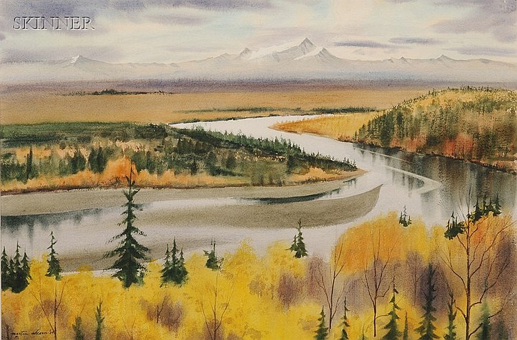 Martin R. Ahearn (American, b. 1918), Winding River, Autumn, Signed and dated