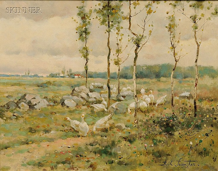 Reuben Le Grande Johnston (American, 1850-1918), Landscape with Geese, Signed