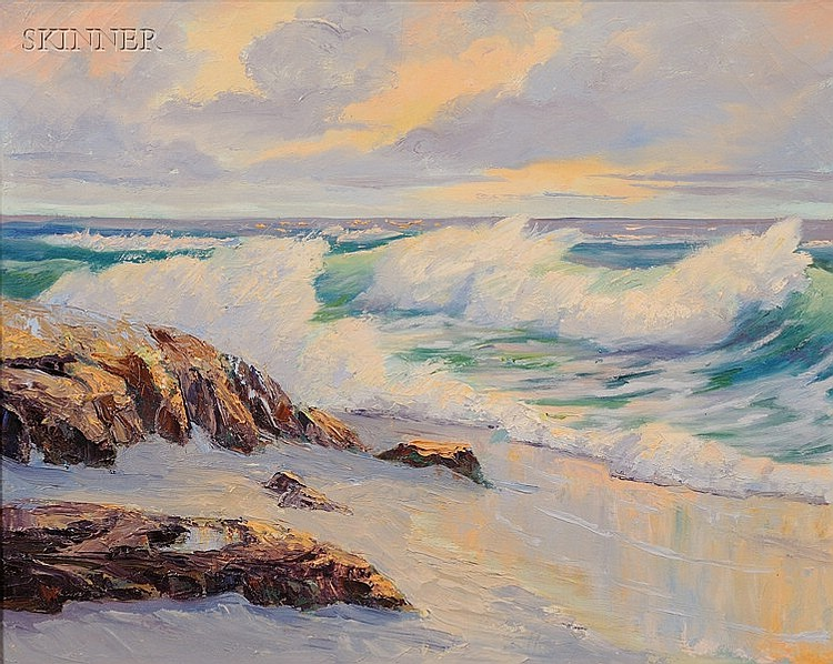 Jean (Eugenia Victoria) Martin (American, 1906-1986), Coastal View, Unsigned, identified on a label affixed to the reverse., Condition: