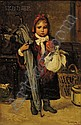 Lajos Bruck (Hungarian, 1846-1910), Ready for School, Signed