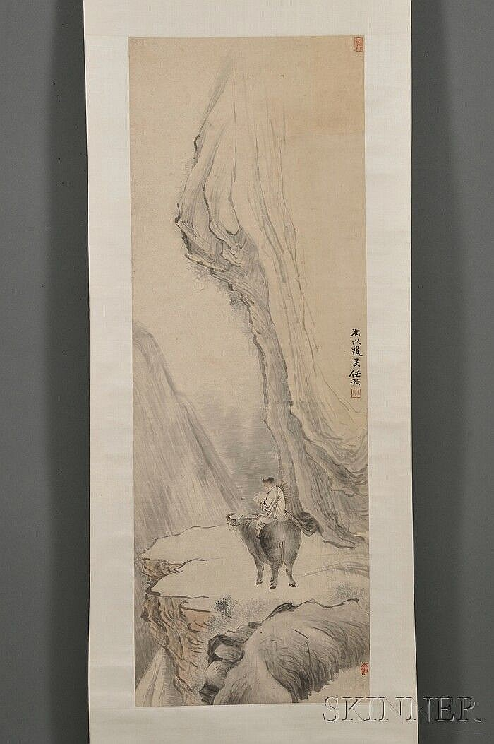 Hanging Scroll, China, Ren Yu (1853-1901), ink and colors on paper, fine depiction of a boy riding a water buffalo in a landscape, sign