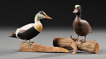 Two Miniature Carved and Painted Duck Figures, James Lapham (1909-1987), Dennisport, Massachusetts, late 20th century, a sea duck dr...