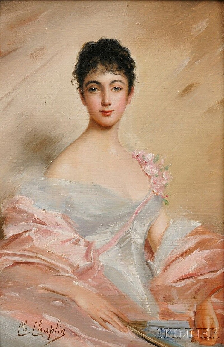Charles Chaplin (French, 1825-1891), Portrait of an Elegant Young Woman, Signed