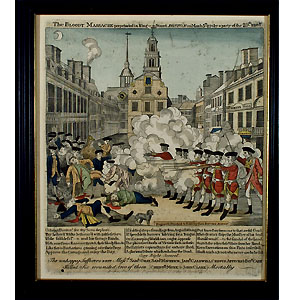 (REVERE, PAUL)BOSTON MASSACRE, hand-colored etching, c. 1952, printed by Goodspeed's of Boston, a new printing from Stratton's 1832 pewter engraving, 11 x 9 in.