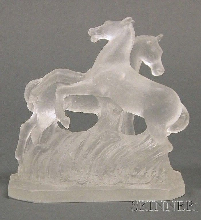 , Frederick Carder (1863-1963) Horse Sculpture, Cast clear glass, Two galloping horses coming out of a wave, rectangular base, signed F