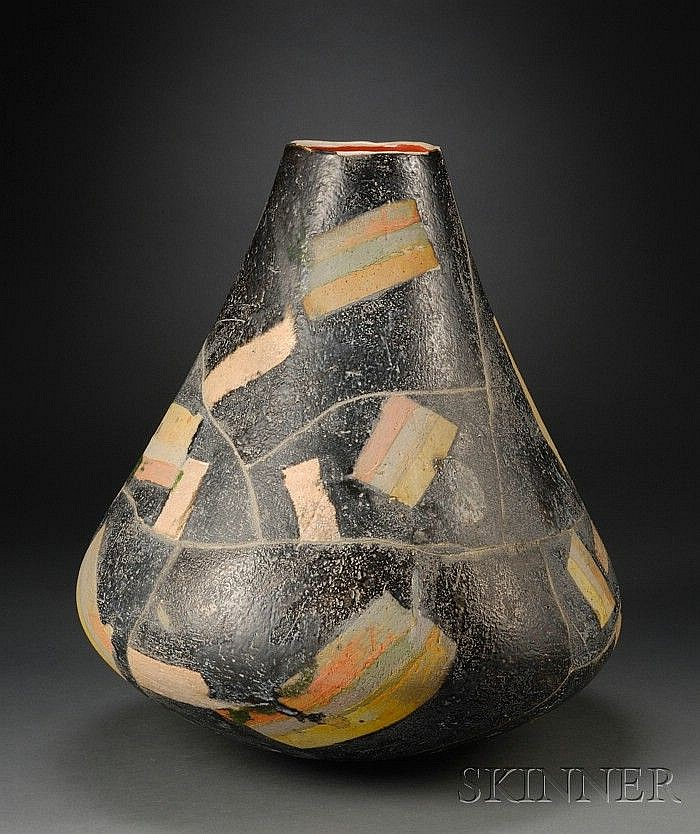 Rick Dillingham (1952-1994) Pottery Vessel Earthenware New Mexico Open mouth on flaring form, black with a patchwork of color, pit f...