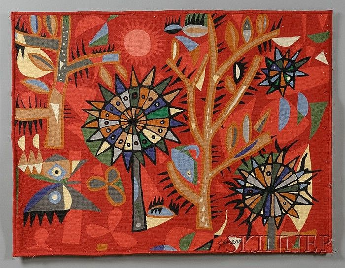 Genaro de Carvalho (1926-1971) Tapestry Wool Brazil Rectangular abstract weaving of a tropical garden with trees and butterflies in ...