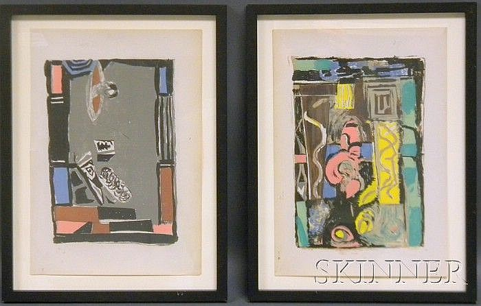 Albert Urban (German, 1909-1959) Lot of Four Abstract Still Lifes Each unsigned, stamped