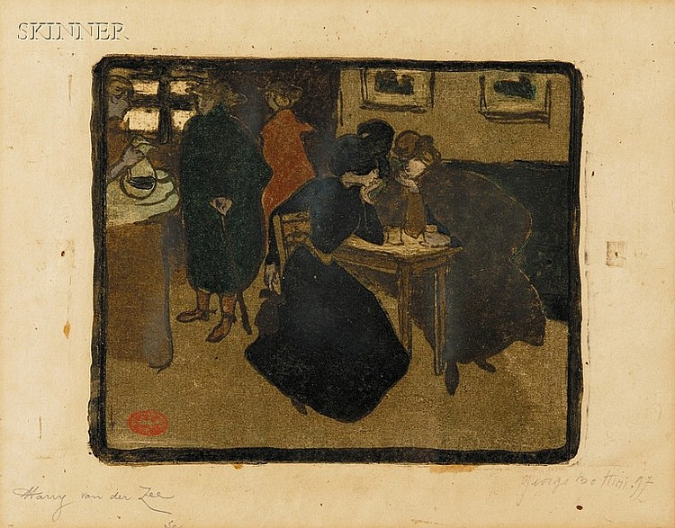 Georges Alfred Bottini (French, 1874-1907) Au café, 1897, edition of 25. Signed and dated