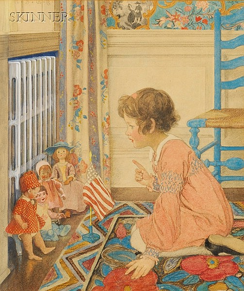 Elizabeth Shippen Green (American, 1871-1954) School for Dollies Initialed