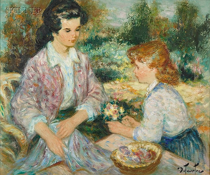 Pierre Eugène Duteurtre (French, b. 1911) Mother and Daughter in the Garden Signed