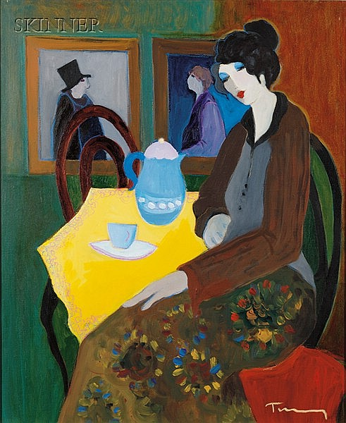 Itzchak Tarkay (Israeli, b. 1935) Portrait of a Woman at a Cafe Signed