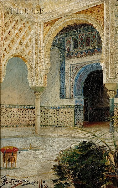 Julio Montenegro (Colombian, 1867-1932) Courtyard, Seville Signed, inscribed and dated