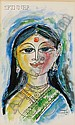 Laxman Pai (Indian, b. 1926) Lot of Two Portraits: Woman with Bird and Woman with Embellished Sar..., Laxman Pai, Click for value