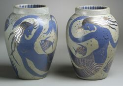 Pair of Waylande de Santis Gregory Vases, (American, 1905-1971) decorated with double tailed mermaids, fish, and aquatic foliage in pur