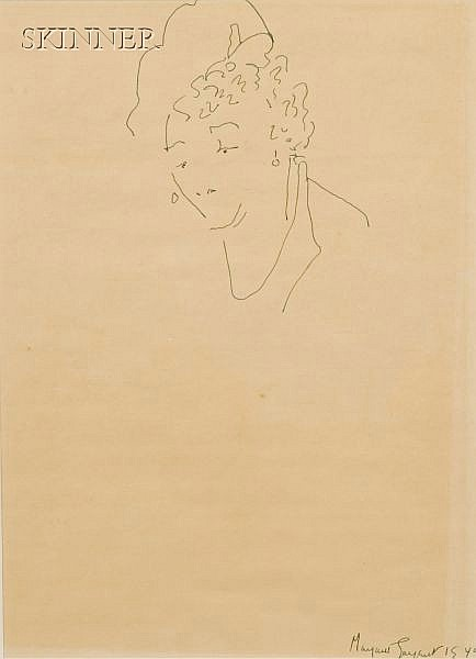 Margaret W. McKean Sargent (American, 1892-1978) Lot of Two Works: Portrait of a Woman, and Portrait of a ...