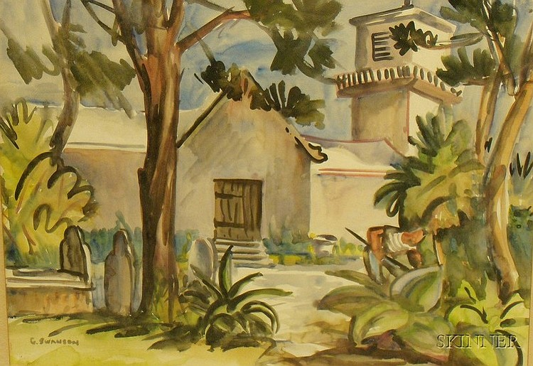 Framed Watercolor on Paper/board Depicting St. Peter's Church, St. Georges, Bermuda, by George Alan Swanson (American, b. 1908), inscr