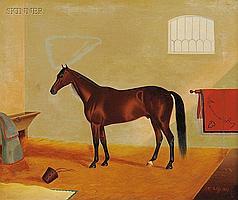 James J. McAuliffe (American, 1848-1921) American Boy/An Equine Portrait Signed a...