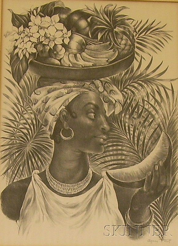 Framed Lithograph on Paper/board, Delphina, by Agnes Gabrielle Tait (American, 1897-1981),...