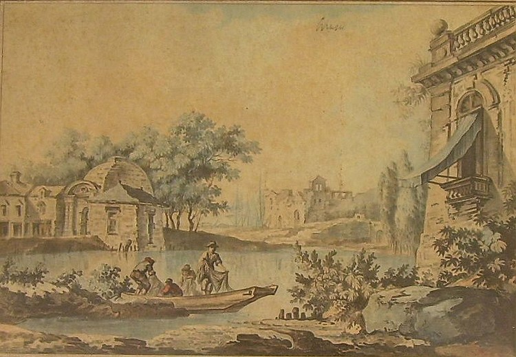 Framed Hand-colored Engraving of Fishermen in a Neoclassical Landscape by C.L. Jubier (French, d. 1770), inscribed