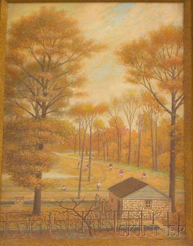 Framed Oil on Canvas Autumn Park Scene by Ernst L. Bartsch (American, 1898-1936), inscribed