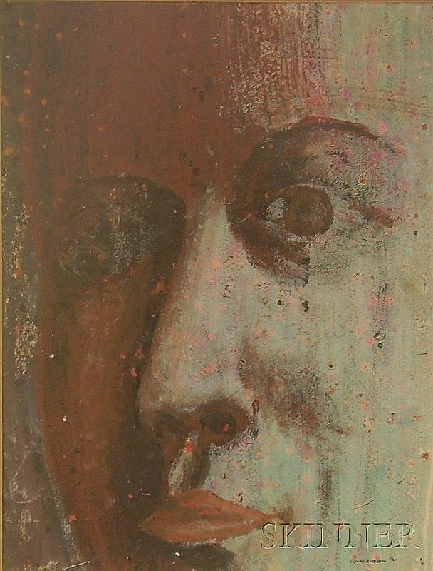 Attributed to Herbert Spangenberg (German, 1907-1984) Face Signed and dated