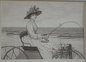 """Charles Xavier Harris (American, b. 1856) Woman Driving a Buggy. Signed """"C.X.Harris"""" in pencil ..."""