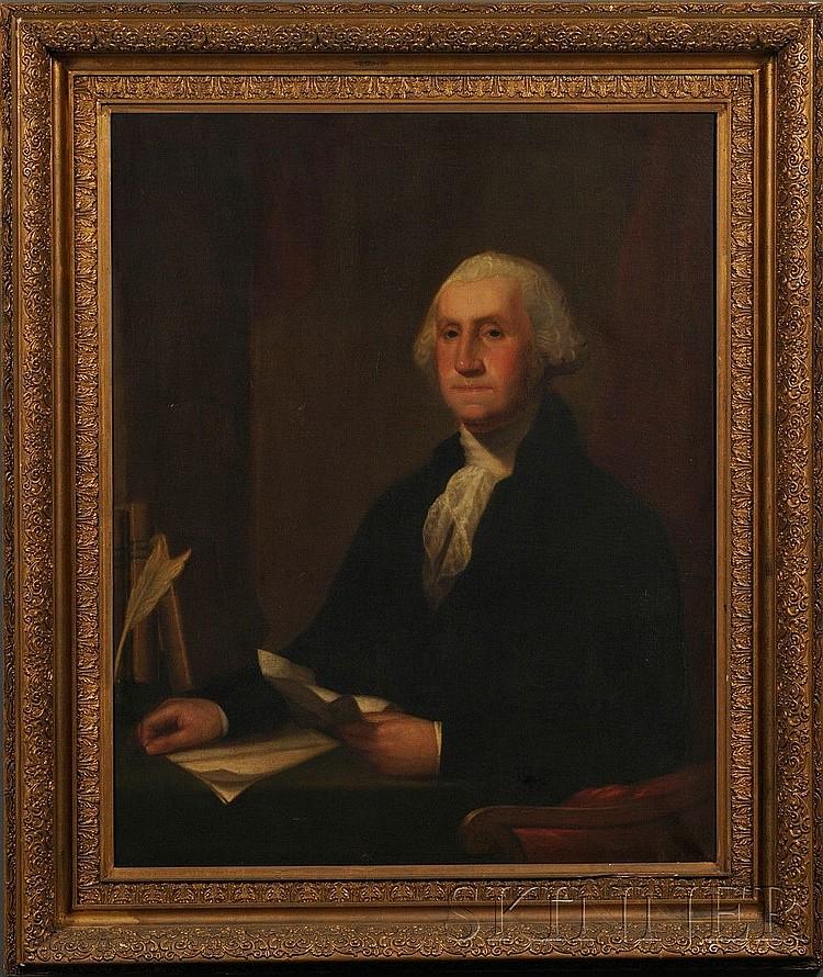 Moses Wight (Boston, 1827-1895) Portrait of George Washington. Signed