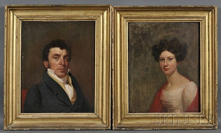 George Peter Alexander Healy (American, 1813-1894) A Pair of Husband and Wife Portraits: Ozias F. Goodwin (1794-1862) and Margaret (née