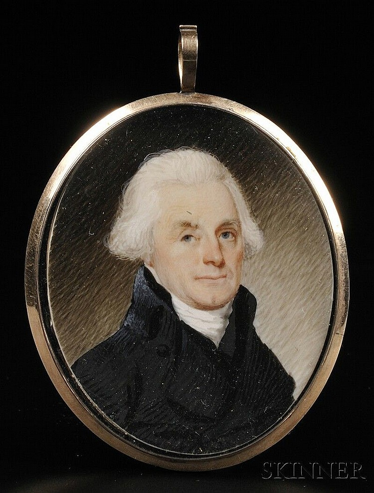 Possibly Robert Field, (American, born in England c. 1769-1819), Portrait Miniature of Thomas Jefferson c. 1800. Unsigned. Watercolor o