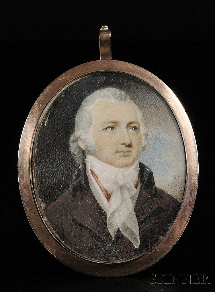 Robert Field, (American, born in England c. 1769-1819), Portrait Miniature of a Gentleman. Signed with initials