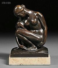"""George Manuel Aarons (American, 1896-1980) Nude Signed, dated, and numbered """"George M. Aarons 1929 IV"""" in the cast on the base. Bron..."""