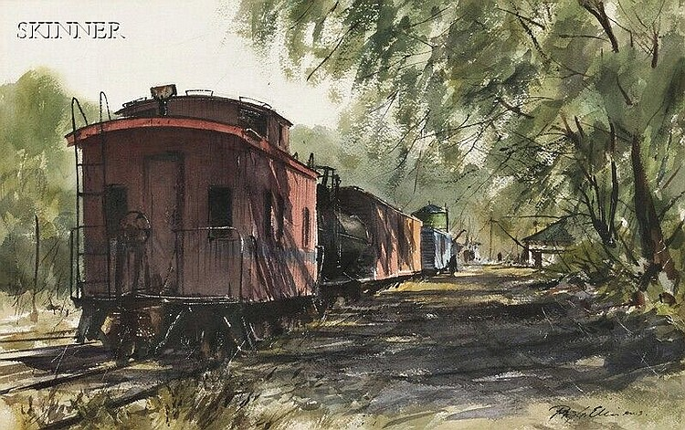 Ray G. Ellis (American, b. 1921), Rail Cars, Signed