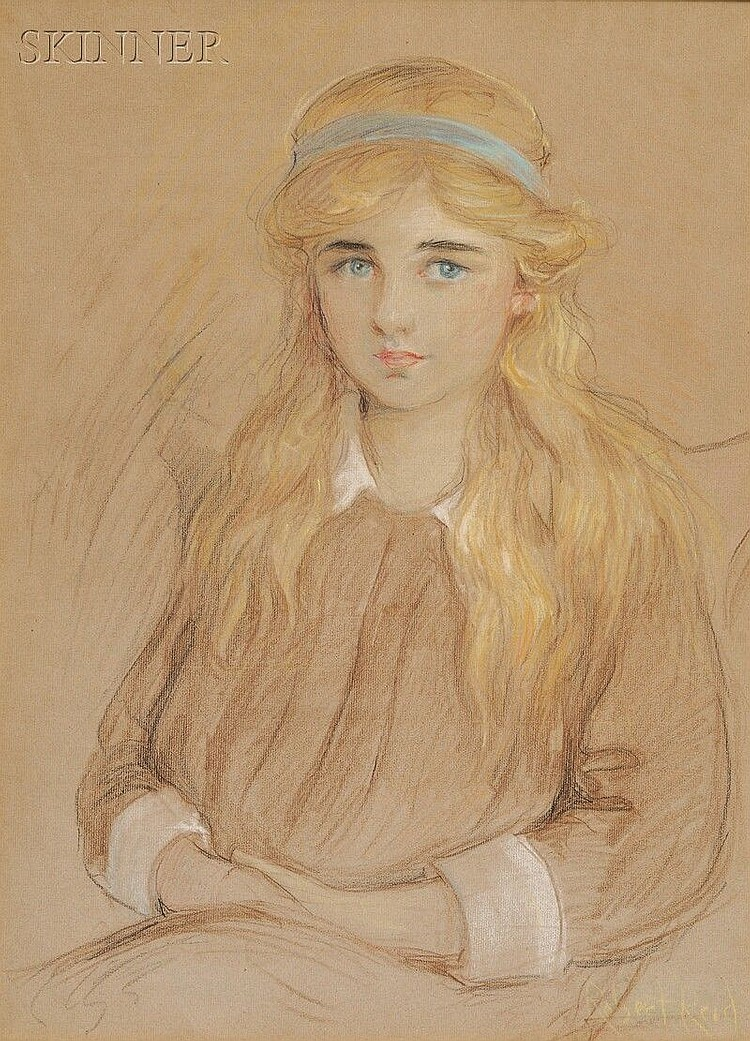Robert Lewis Reid (American, 1862-1929), Portrait of a Girl with a Blue Headband, Signed