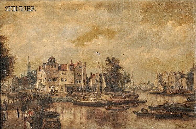 Johann Christoph Frisch (Dutch, 1738-1815), Dutch City View with Bustling Harbor, Signed