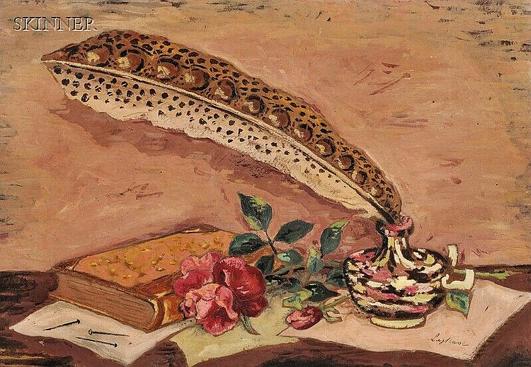 Jean Francis Laglenne (French, 1899-1962), Still Life with Quill and Ink Bottle, Signed
