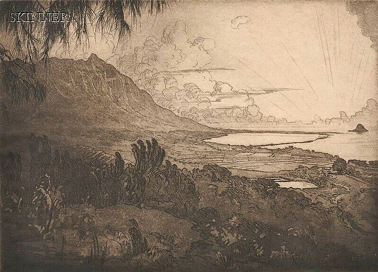 Huc-Mazelet Luquiens (American, 1881-1961) Two Views of Hawaii: Sunset, Kualoa Point, 1923; and Lauhala, 1932. Both signed