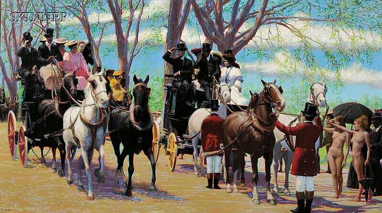 Richard Allan George (American, 1935-1990), Coach & Fours, Signed