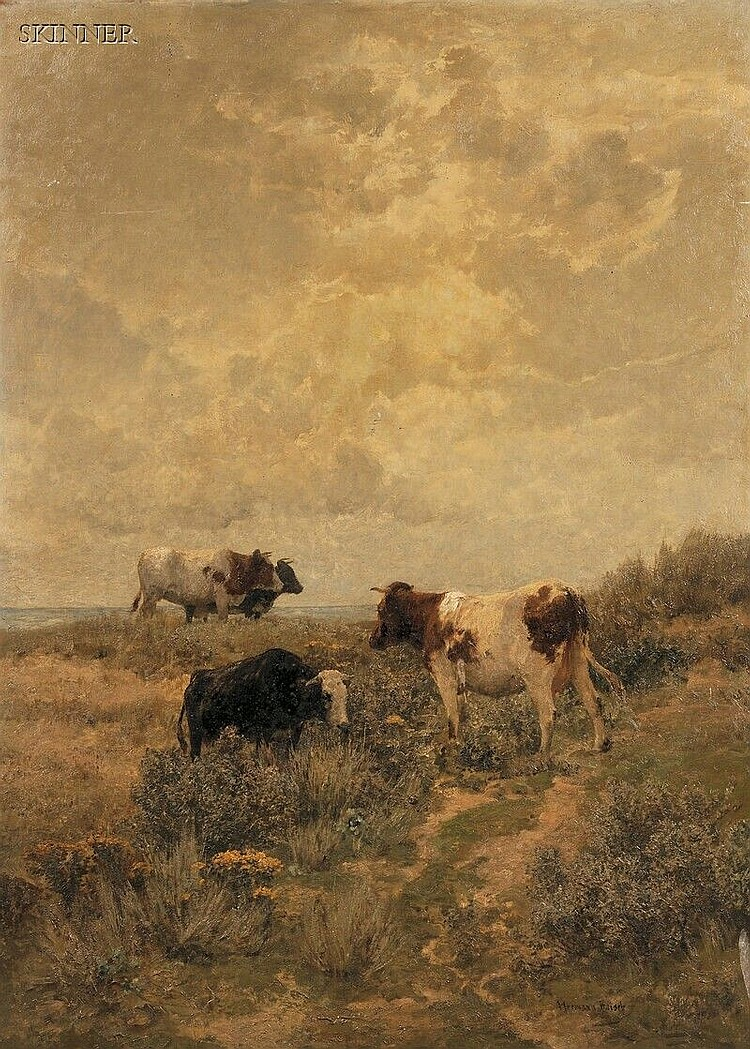Hermann Baisch (German, 1846-1894), Cows Grazing in the Dunes, Signed