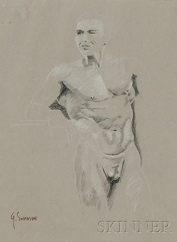 George Alan Swanson (American, 1908-1968) Lot of Two Male Nude Studies One signed