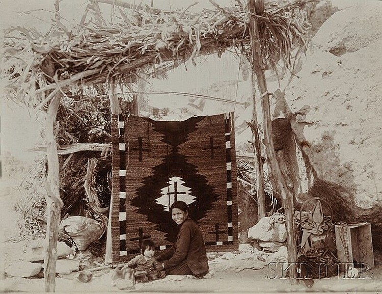 Adam Clark Vroman Print of a Navajo Weaver, c. 1900, published in Indian Blankets and their Makers, George Warton James, 1937, unmou...