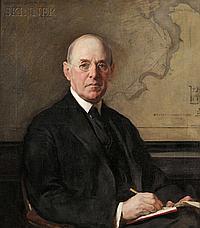 "Joseph Rodefer DeCamp (American, 1858-1923), Portrait of Robert Archey Woods (1865-1925), Signed and dated ""JOSEPH-DE-CAMP 1918"" u.l.,"