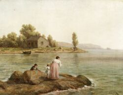 Horace R. Burdick (American, 1844-1942), A Day at the Shore, Signed