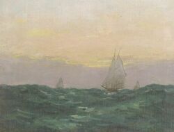 William Rowell Derrick (American, 1858-1941), The Passing Front/Schooners in Open Water, Signed