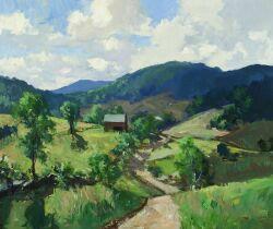 Charles Curtis Allen (American, 1886-1950), Hillside Farm, Unsigned, inscribed