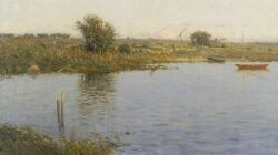 Charles Harold Davis (American, 1856-1933), Sunrise, A Harbor Inlet, Oil on canvas, 15 3/4 x 28 in. (40.4 x 71 cm), framed.