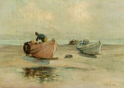 Edward A. Page (American, 1850-1928), Preparing the Boat, Lynn Beach, Signed
