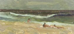 Bernard Lennon (American, d. 1992), At the Beach, Incised signature