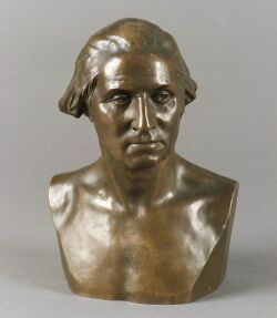 James Wilson MacDonald (American, 1824-1908) After Jean Antoine Houdon (French, 1741, -1828) Bust of George Washington, Signed, inscrib